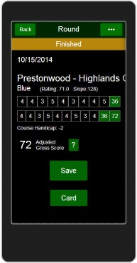 Handicap System score finished