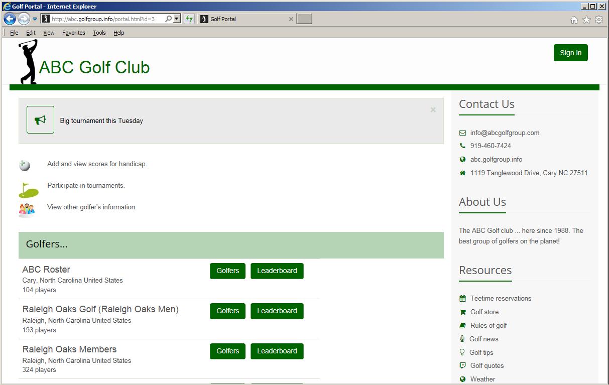 Take a tour of Tournament Manager (online) - GolfSoftware com